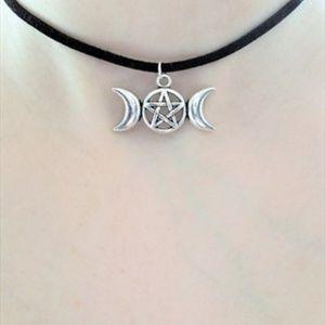 Jewelry - Black and Silver Triple Moon Pentagram Choker